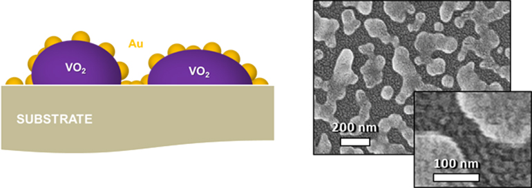 """Left: Illustration of terahertz optical switches shows the vanadium dioxide nanoparticles coated with a """"nanomesh"""" of smaller gold particles. Right: Scanning electron microscope image of the switches at two resolutions. (Credit: Haglund Lab/Vanderbilt)"""
