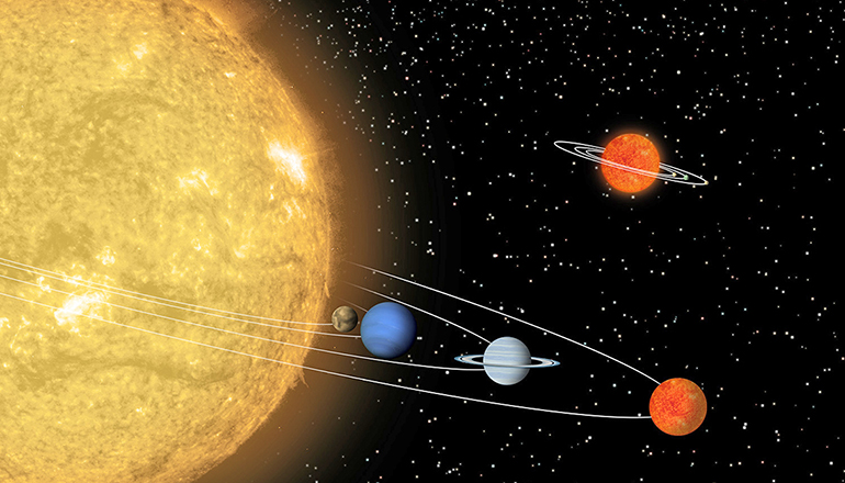 """This artist's conception compares a hypothetical solar system centered around a tiny """"sun"""" (top) to a known solar system centered around a star, called 55 Cancri, which is about the same size as our sun. (Credit: NASA/JPL-Caltech/T. Pyle (SSC) via Flickr)"""