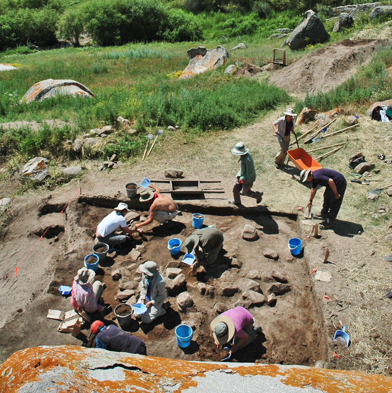 Archaeological excavations at the site of Tasbas, Kazakhstan. (Credit: Michael Frachetti)