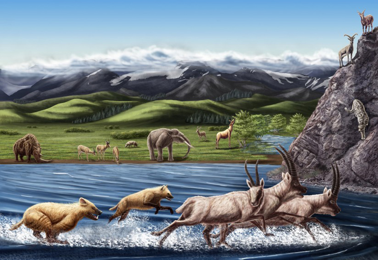 Artist Julie Selan's reconstruction of Zanda fauna from the Pliocene epoch (Credit: Natural History Museum of Los Angeles County)