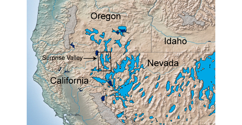 During the Last Glacial Maximum, large lakes (light blue) covered many of the now dry desert basins of Nevada, Oregon, and California. (Credit: Daniel Ibarra)