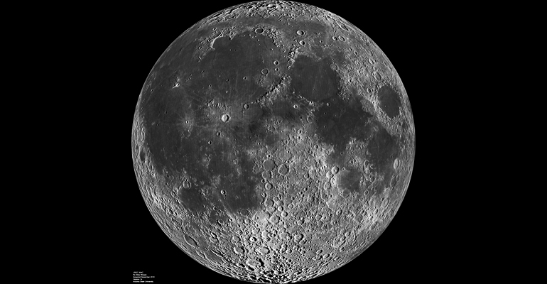 In this composite image of the lunar nearside taken by the Lunar Reconnaissance Orbiter in June 2009, the dark areas are the maria. (Credit: NASA)
