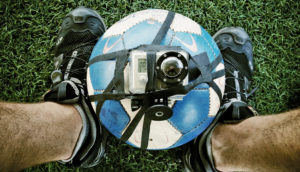 GoPro camera strapped to soccer ball
