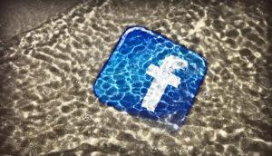 Facebook icon under water