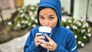 woman having her morning coffee