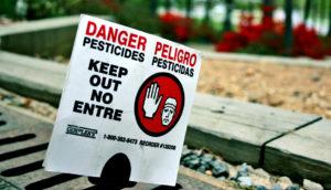 pesticide warning sign
