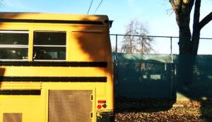 school bus driving away