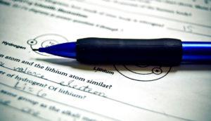 pencil on chemistry homework