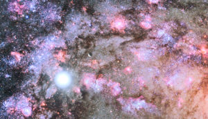 The core of a developing galaxy as seen from a hypothetical planetary system