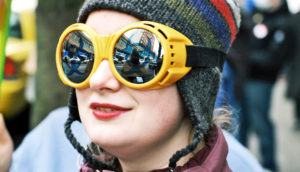 woman wearing goggles and hat