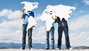 three men hold continents