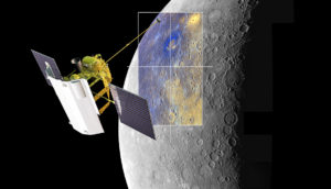 Artist's depiction of Messenger flying by Mercury