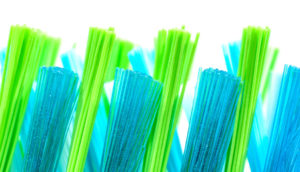 blue and green bristles