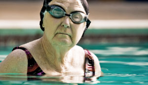 elderly woman in swimming pool