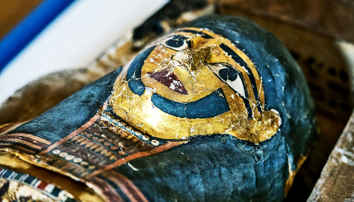 face on sarcophagus of mummy
