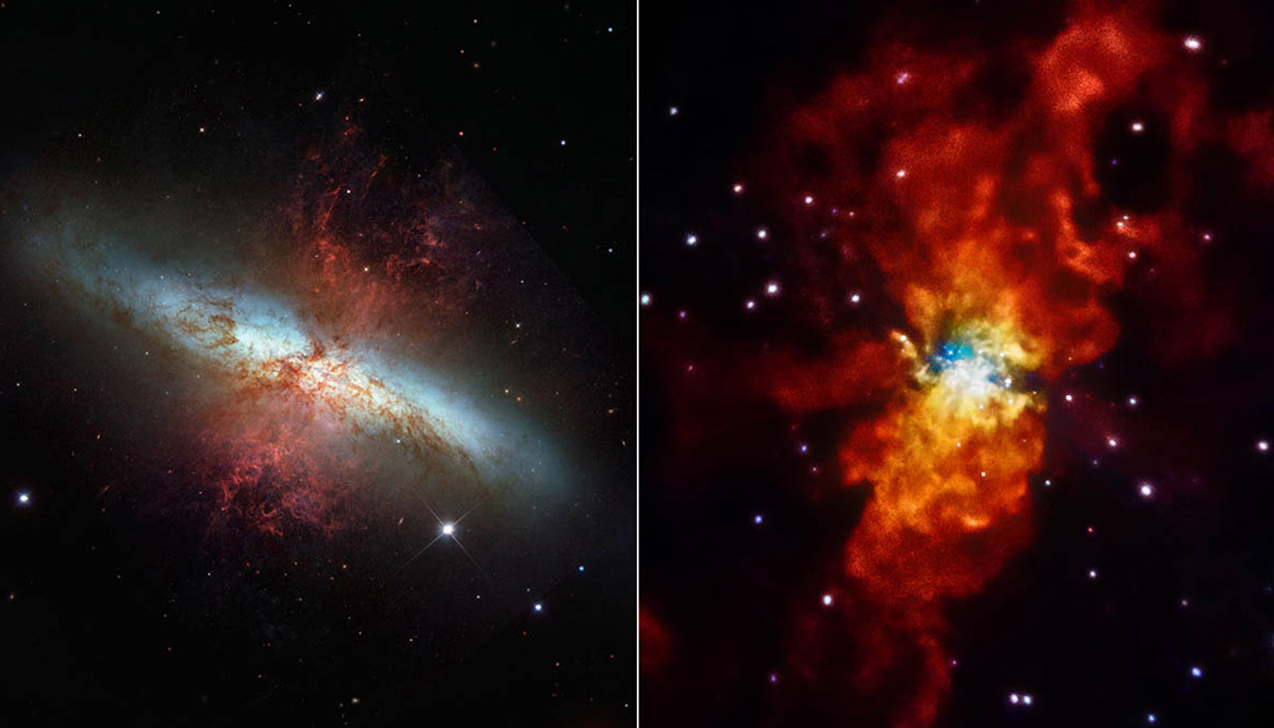 two views of the galaxy Messier 82 (M82)