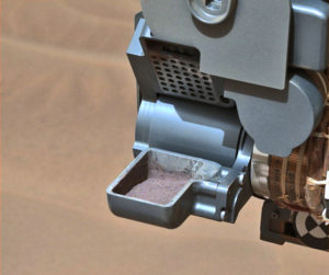 sample of powdered rock extracted by NASA's Curiosity rover on Mars.