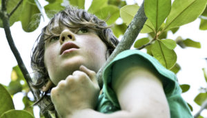 thoughtful child in tree