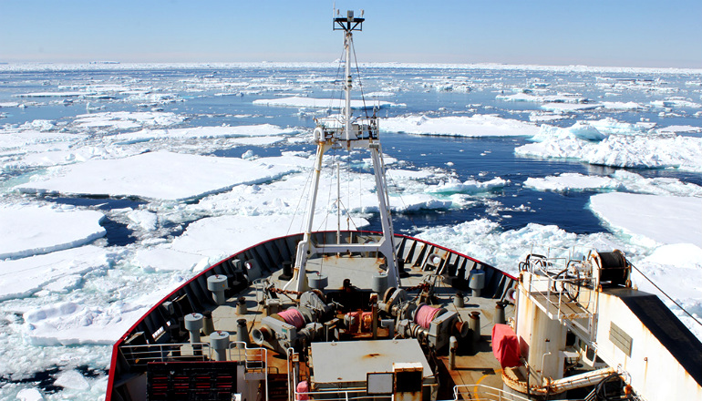 Bow of the James Clark Ross in the Weddell Sea.
