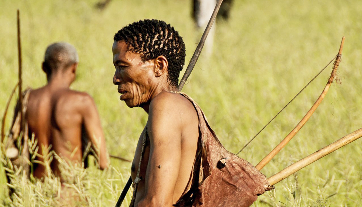 a Khoisan man in profile
