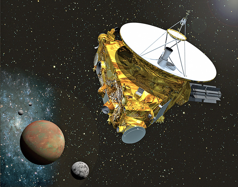 Artist's concept of the New Horizons spacecraft as it approaches Pluto and its largest moon, Charon