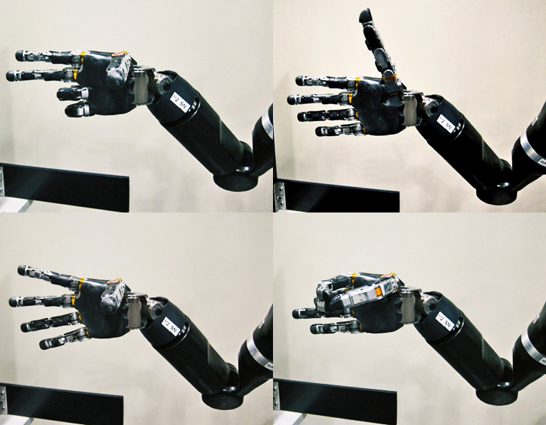 Four of the gestures possible with the robotic hand: (Credit: Journal of Neural Engineering/IOP Publishing
