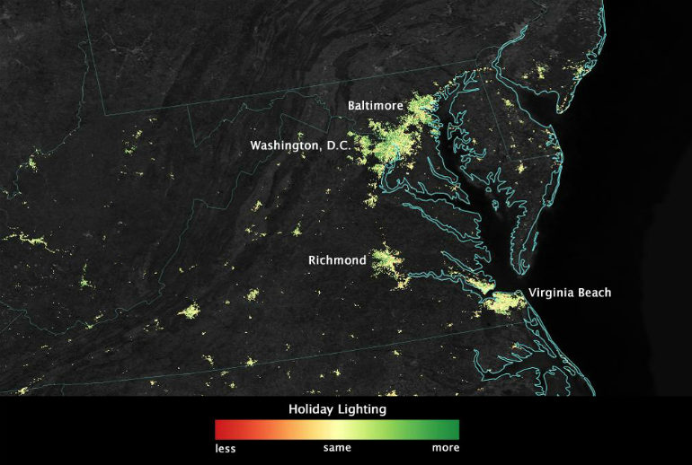 holiday lights in US from space
