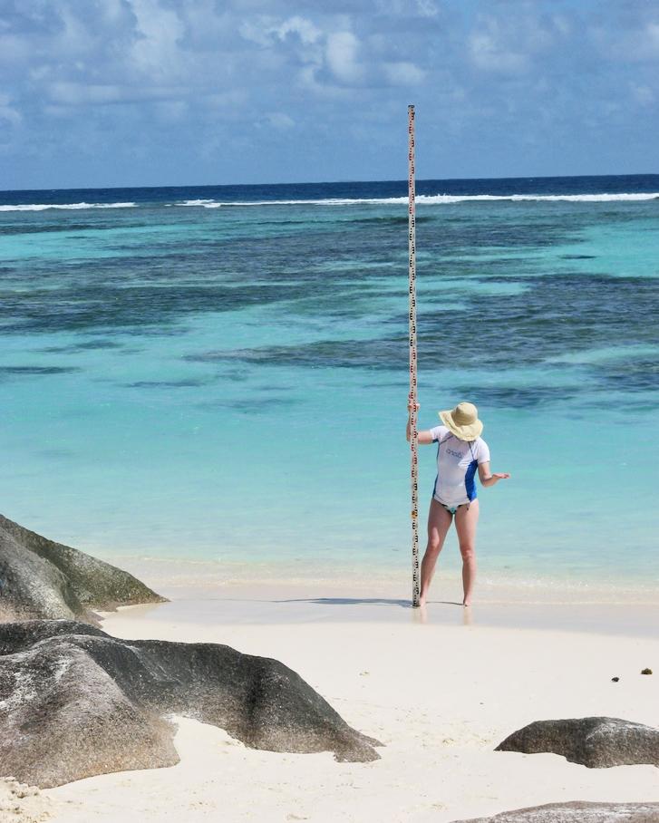 Geochemist Andrea Dutton in  Seychelles