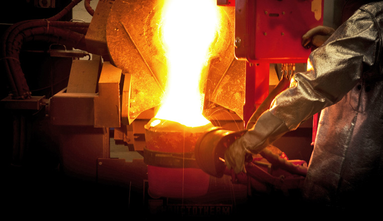 iron casting in steel mill
