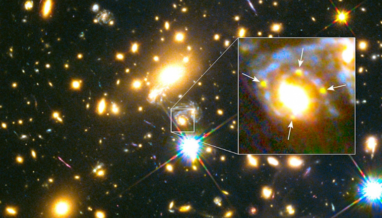 Galaxy bends light to create 4 views of supernova