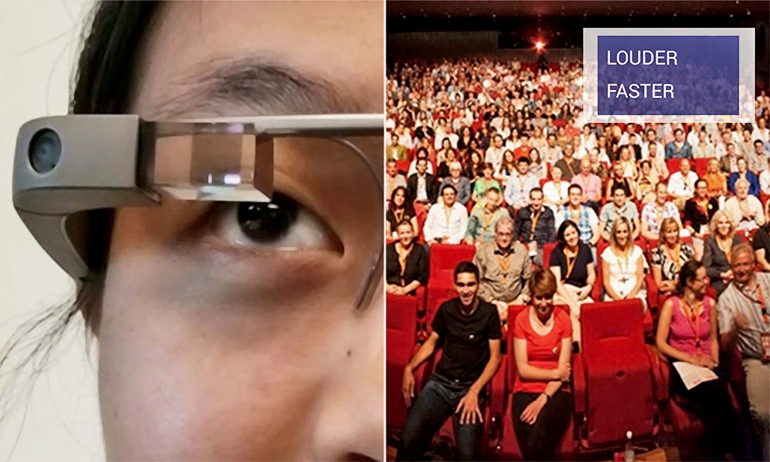 Google Glass interface for public speaking