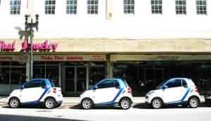 row of smart cars