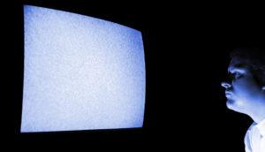 man stares at static screen - computer vision