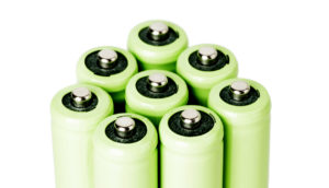 green batteries on white