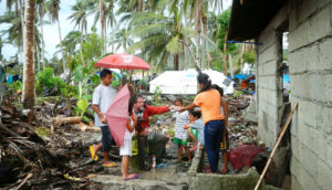testing water samples after Typhoon Haiyan