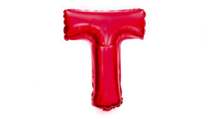 red T balloon