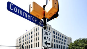 commerce st and one-way signs