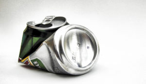 crushed beer can - gun + alcohol concept