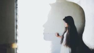 woman and big head shadow