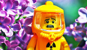 LEGO man in hazmat suit