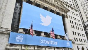 Twitter banner on Wall Street