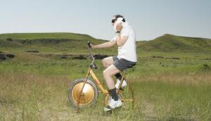 man on an exercise bike