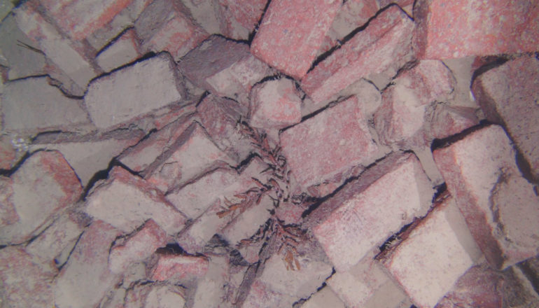 Brick pile from the shipwreck