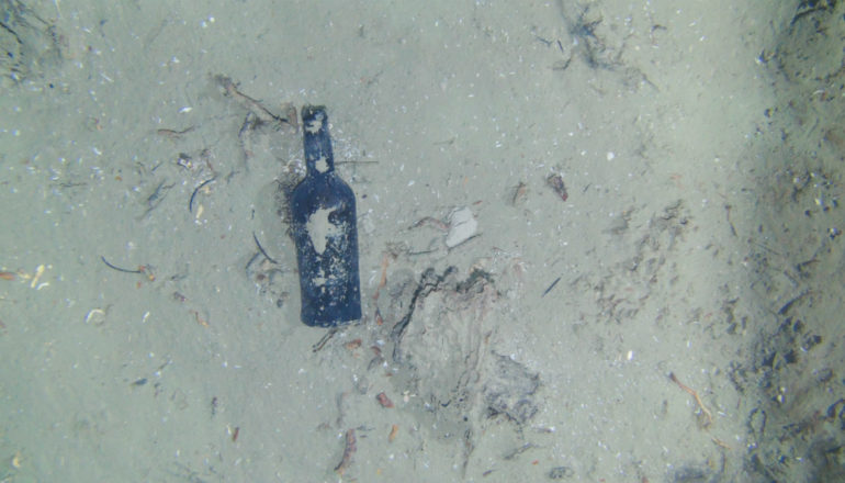 One of nine glass bottles observed at the site