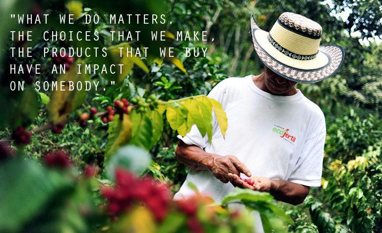 coffee farmer and beans