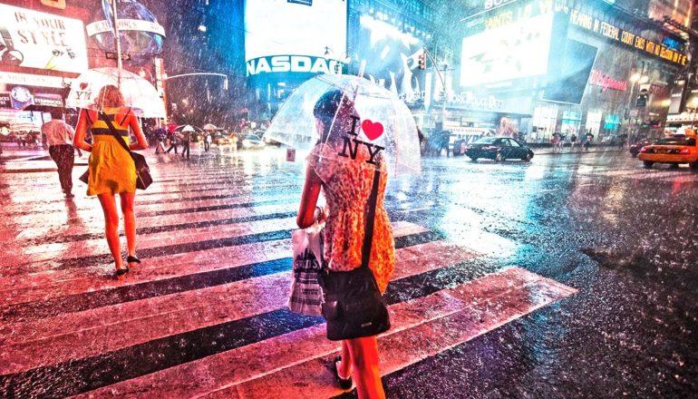rain in Times Square