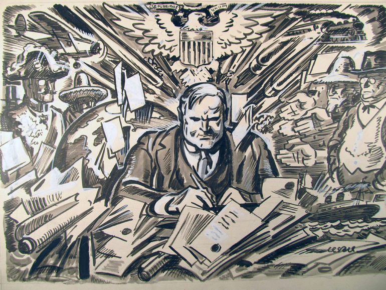 political cartoon of Herbert Hoover