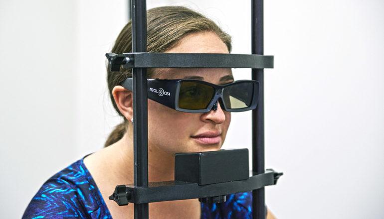 Graduate student Kim Schauder demonstrates a distance judgment task