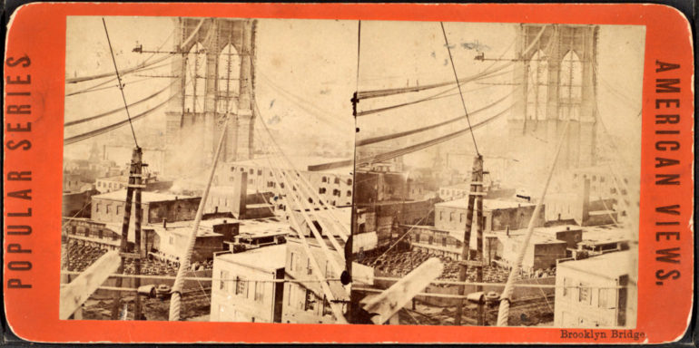 Brooklyn Bridge stereoscopic image