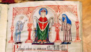 nun and priests in manuscript